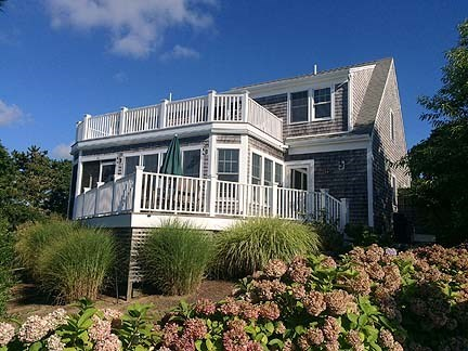 Chatham Cape Cod vacation rental - Back of home with multi-level decks and screened-in-porch.