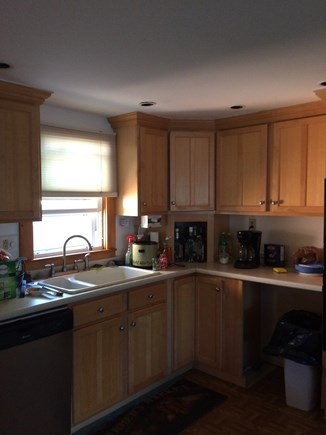 West Yarmouth Cape Cod vacation rental - Kitchen with dishwasher stove microwave.Fully stocked.