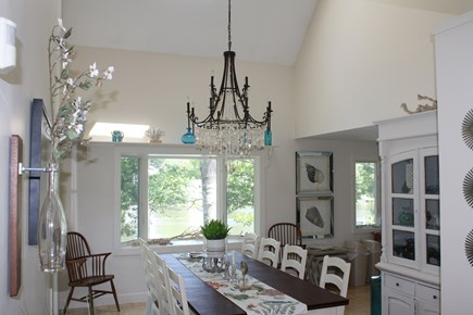 Falmouth Cape Cod vacation rental - Cathedral Dining area with water views and slider to deck