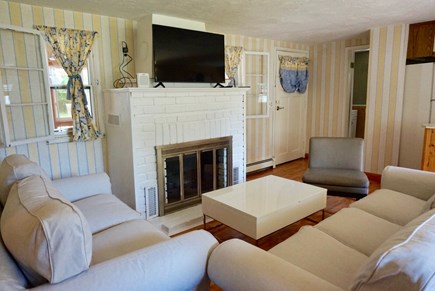 North Falmouth Cape Cod vacation rental - Living room with flat screen TV, cable/wifi, DVD, and speakers