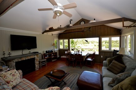 Orleans Cape Cod vacation rental - Great Room with views of Kettle Pond and large Flat Screen TV