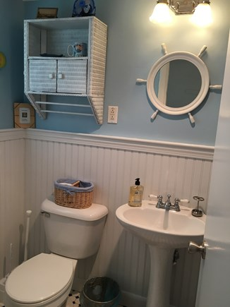 Dennisport Cape Cod vacation rental - Bright bathroom with bead board, full tub & shower.