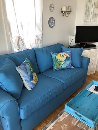 Dennisport Cape Cod vacation rental - Full size sleeper sofa in living room with memory foam mattress