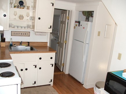 Near Coast Guard Beach Eastham Cape Cod vacation rental - Kitchen looking toward the bathroom