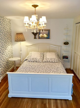 Marstons Mills Marstons Mills vacation rental - The second floor blue bedroom with a wooden deck and stairs.