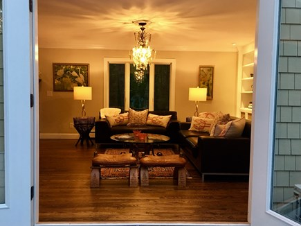 Marstons Mills Marstons Mills vacation rental - Living room through the French doors at night.