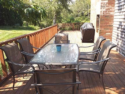 Chatham Cape Cod vacation rental - Dining table on the very large wrap around deck.
