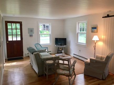 East Orleans Cape Cod vacation rental - Cozy living room has beadboard ceilings, cable TV and wi-fi.