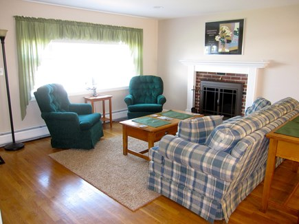 West Dennis Cape Cod vacation rental - Living room with fireplace