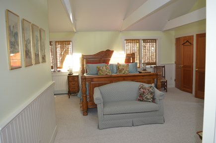 Wellfleet Cape Cod vacation rental - Master bedroom with King & a double bed in alcove area. with AC.