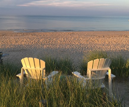 Sagamore Beach, Sandwich Sagamore Beach vacation rental - Relax in the Adirondack Chairs overlooking the Beach at Sunset