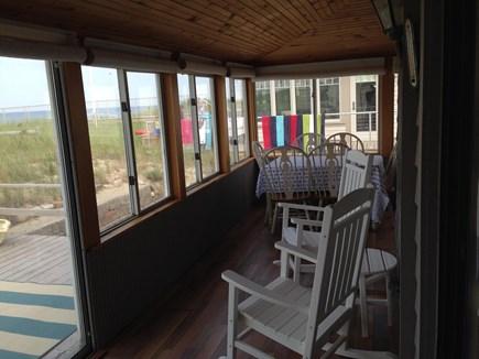 Sagamore Beach, Sandwich Sagamore Beach vacation rental - Rocking Chairs/Table in Porch overlooking Ocean