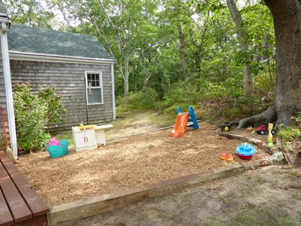 Eastham Cape Cod vacation rental - Kids play area and natural sandbox up against the tree
