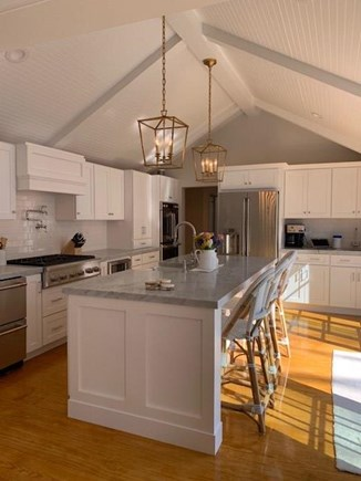 Harwichport Cape Cod vacation rental - Main House Kitchen - Newly renovated kitchen with marble counters