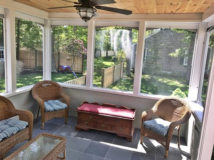 Falmouth Cape Cod vacation rental - Screened porch with ceiling fan