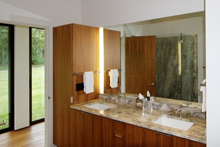 Brewster Cape Cod vacation rental - 1st floor Beautiful marble filled bathroom.