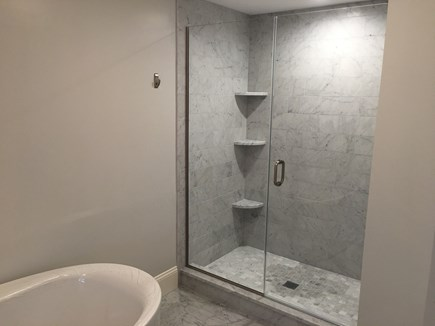 Chatham (in town) Cape Cod vacation rental - Marble shower in 1st floor master's en suite bathroom