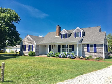Chatham (in town) Cape Cod vacation rental - Front of house w/beautiful roses, hydrangeas, & seashell driveway