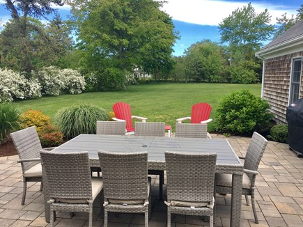 Chatham (in town) Cape Cod vacation rental - Patio: w/Weber grill, outdoor shower, view of lawn (now w/pool!)