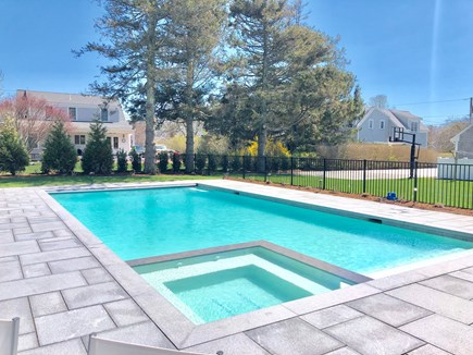 Chatham (in town) Cape Cod vacation rental - Heated salt-water pool w/spa, chaises, dining table, and sofa!