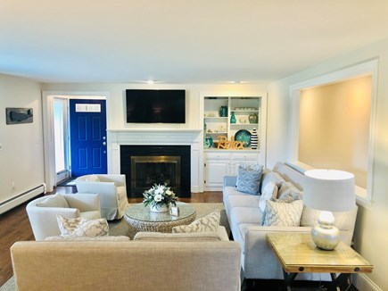 Chatham (in town) Cape Cod vacation rental - Living room with TV and fireplace