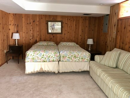 Eastham Cape Cod vacation rental - Large basement room with area for yoga, half bath and 2 twins.