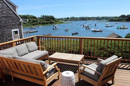 Chatham Cape Cod vacation rental - Deck with outdoor dining table and view of Mill Pond.