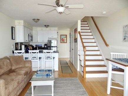 North Truro Cape Cod vacation rental - Living Room/Kitchen: breakfast bar, high top, 1/2 bath down hall
