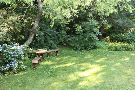 Orleans, MA Cape Cod vacation rental - Open back yard with seating area