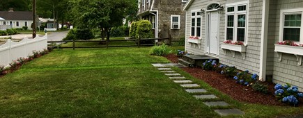 Popponesset, New Seabury, Mashpee, Poppy Cape Cod vacation rental - Front Yard View with Gardens and Flowering Window Boxes