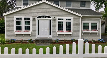 Popponesset, New Seabury, Mashpee, Poppy Cape Cod vacation rental - 5 BR House Front with Picket Fence, Hydrangeas and Roses