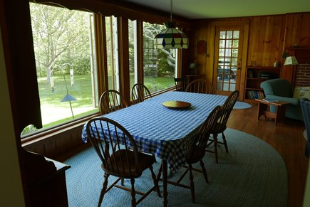 Brewster Cape Cod vacation rental - Dining room overlooking the back lawn & Cobb's Pond