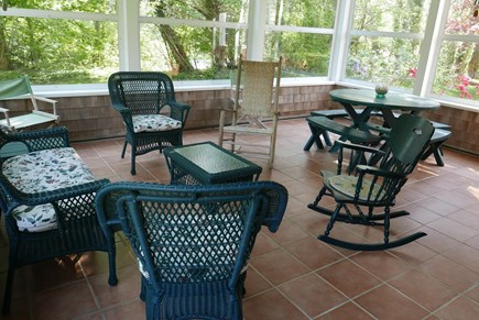 Brewster Cape Cod vacation rental - Screened in porch overlooks the front lawn and back lawn & pond.