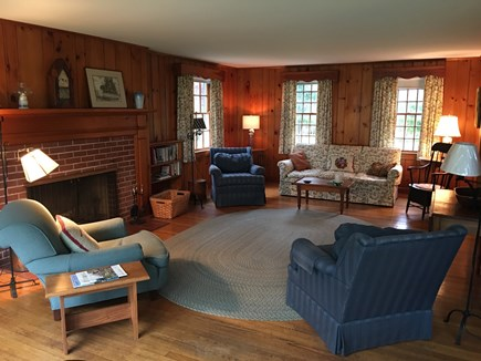Brewster Cape Cod vacation rental - The living room overlooking the back lawn & Cobbs's Pond.