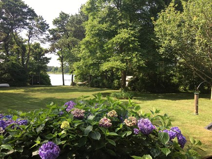 Brewster Cape Cod vacation rental - View of the lawn & pond from the dining room/living room.