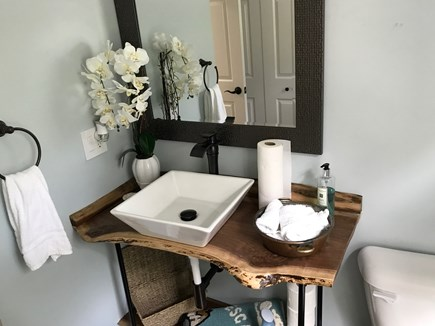 East Falmouth Cape Cod vacation rental - First floor full bath with custom walnut vanity