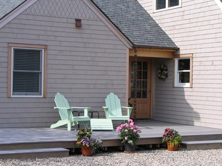 Eastham Cape Cod vacation rental - Front entry to the house with chairs for morning coffee.