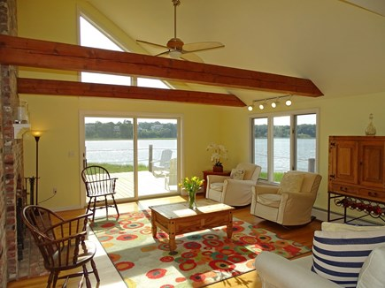 Eastham / Orleans Cape Cod vacation rental - Vaulted living room with slider to deck, expansive views