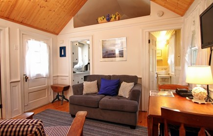 Dennis Port Cape Cod vacation rental - Living room w/cathedral ceilings