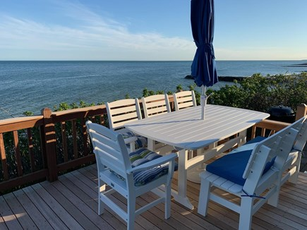 Dennis Port Cape Cod vacation rental - Oceanfront deck overlooking private associate beach.