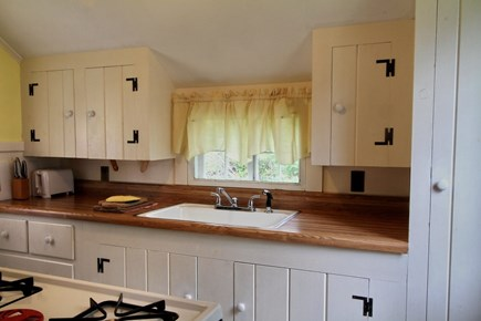 Dennisport Cape Cod vacation rental - Stocked kitchen w/full size stove, refrig & microwave.