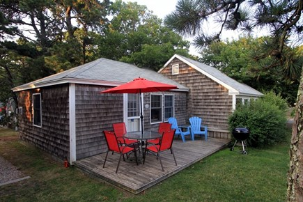 Dennis Port Cape Cod vacation rental - Deck w/dining table and charcoal grill.