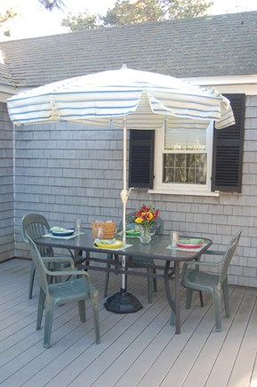 Dennis Port Cape Cod vacation rental - Outdoor dining, charcoal grill and beach chairs provided