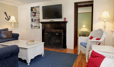 Dennis Port Cape Cod vacation rental - Living room with remote controlled gas fireplace