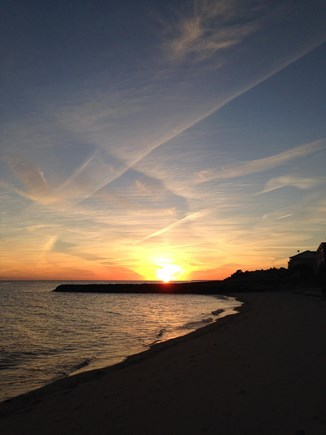 Dennisport Cape Cod vacation rental - Sunset on the Nantucket Sound private beach