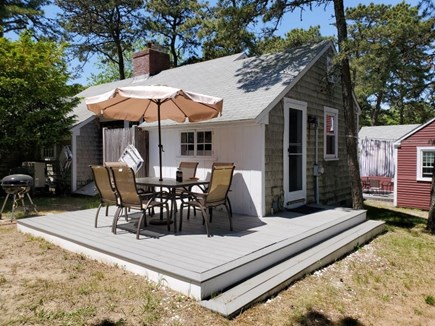 Dennis Port Cape Cod vacation rental - Outdoor dining, charcoal grill, beach chairs, outdoor shower