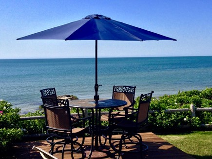 Dennis Port Cape Cod vacation rental - Deck/patio overlooking private Nantucket Sound beach