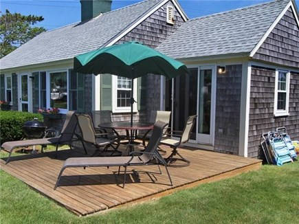 Dennis Port Cape Cod vacation rental - Deck w/ocean views, charcoal grill and beach chairs provided