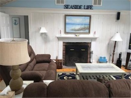 Dennis Port Cape Cod vacation rental - Open living room, cathedral ceiling to kitchen/dining area
