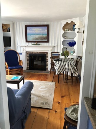 Dennis Port Cape Cod vacation rental - Living room with working fireplace.